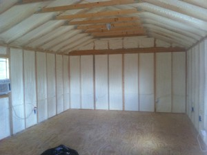 "Portable buildings are great for extra storage, or even for using as a living space. Add 1"" of closed cell spray foam and you've got awesome cabin for deer camp!"