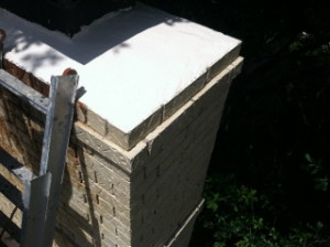Chimney crown repaired using Acrylic Elastomeric coating