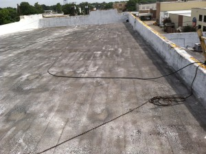 This picture illustrates how much dust and dirt can accumulate on a roof over 20 years!
