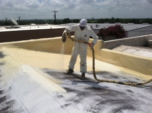 Spray Polyurethane Foam being applied to a roof. Not only does this provide an insulation value of at least R-7, but provides a secondary means of waterproofing AND actually ADDS strength to the roof assembly!