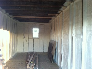 After closed cell spray foam was installed. This is going to be a very energy efficient living space, and you definitely can't beat the character of the old barn!